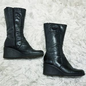 Cathy Jean charcoal grey leather wedge boots